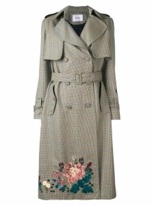 Erdem embroidered trench coat - NEUTRALS