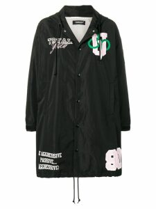 Undercover printed hooded raincoat - Black