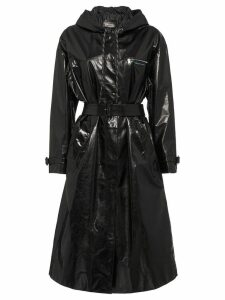 Prada Hooded leather trench coat - Black