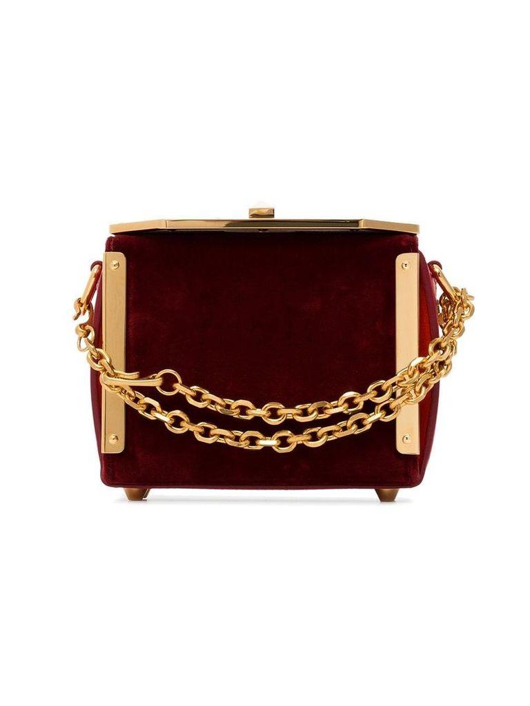 Alexander McQueen red velvet Box Bag 16