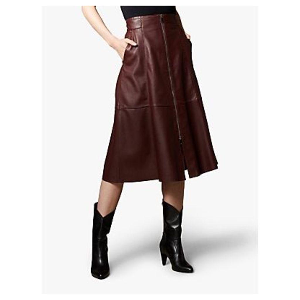 Karen Millen Leather Vertical Zip Skirt