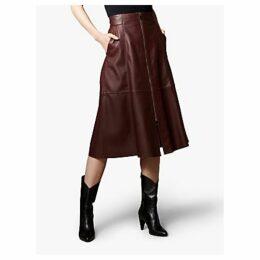 Karen Millen Leather Vertical Zip Skirt, Aubergine