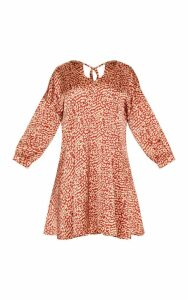 Plus Red Leopard Print Long Sleeve Shift Dress, Red