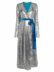 Attico Belted Sequin Velvet Midi Dress - Blue