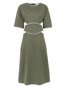 Framed Double layered midi dress - Green