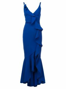 Marchesa Notte V-neck crepe gown - Blue