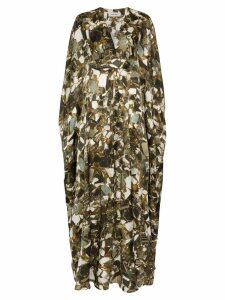Märta Larsson Printed Crystal Pyrite Silk Kaftan Maxi Dress - Brown