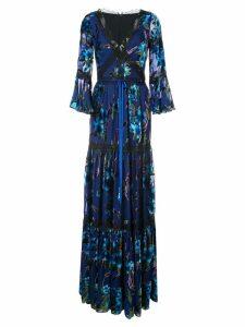 Marchesa Notte metallic floral pattern dress - Blue