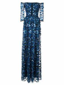 Marchesa Notte off-the-shoulder floral-print gown - Blue