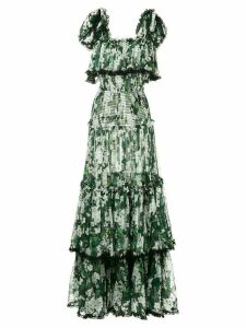 Dolce & Gabbana white geranium printed long tiered dress - Green