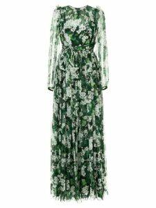 Dolce & Gabbana white geranium printed maxi dress - Green