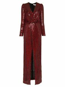 Galvan Vera Sequin and Silk Maxi Dress - Red