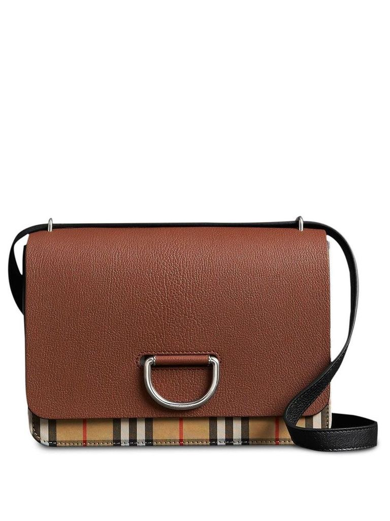 Burberry The Medium Vintage Check and Leather D-ring Bag - Brown