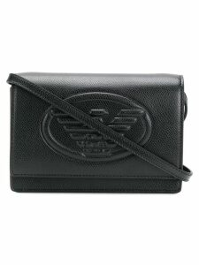 Emporio Armani embossed logo crossbody bag - Black