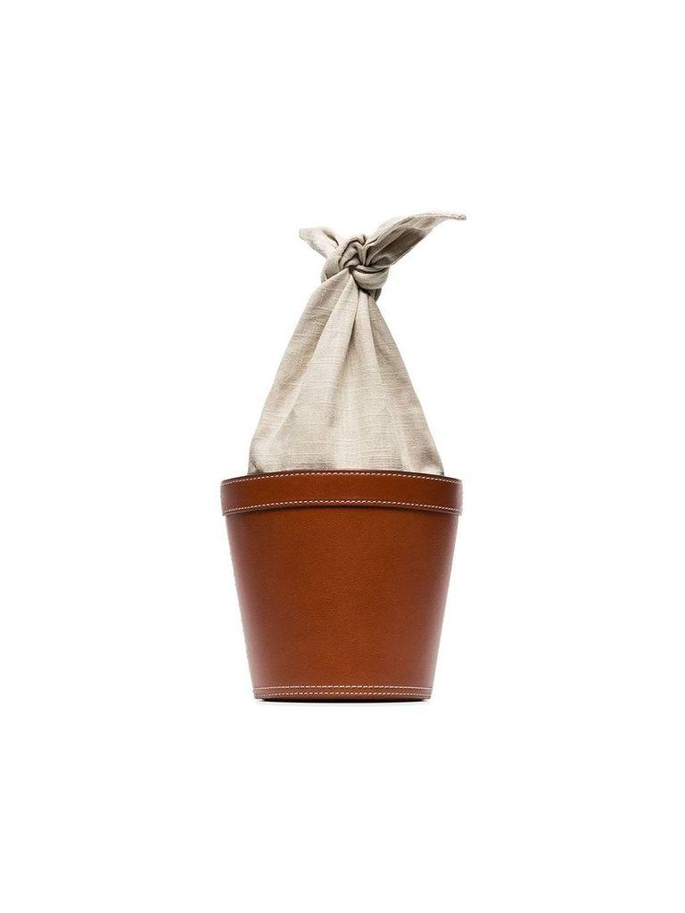 Staud brown Britt leather linen bucket bag