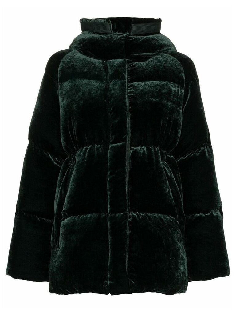 Moncler Butor Velvet Padded Coat - Green