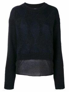 Ballantyne diamond pattern layered jumper - Black
