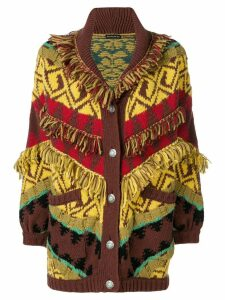 Etro fringe trim cardi-coat - Yellow