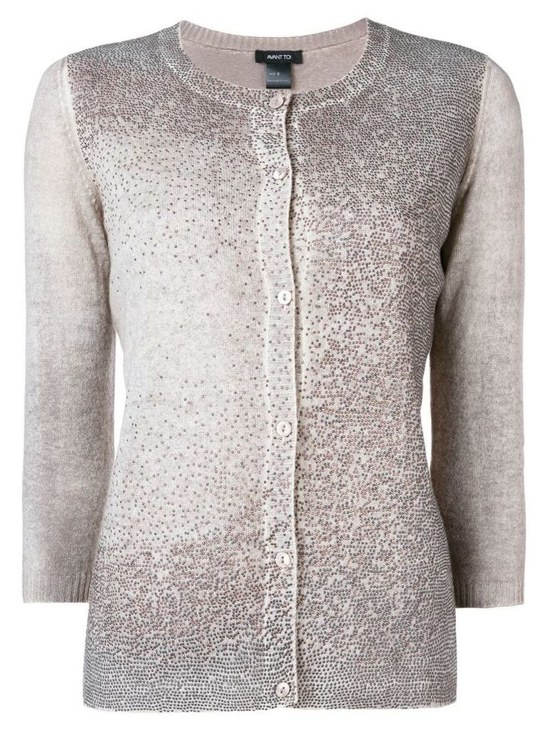Avant Toi rhinestonecropped sleeve cardigan - Neutrals