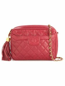 Chanel Pre-Owned Chanel quilted fringe chain shoulder bag - Red