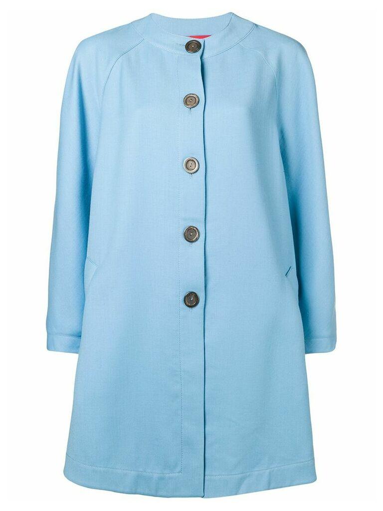 Emanuel Ungaro Vintage flared collarless coat - Blue