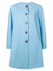 EMANUEL UNGARO PRE-OWNED flared collarless coat - Blue