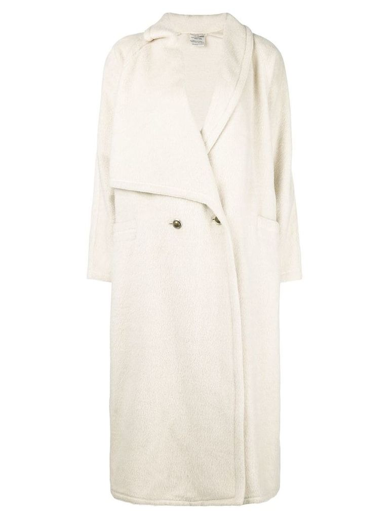 Versace Pre-Owned asymmetric lapels long coat - White