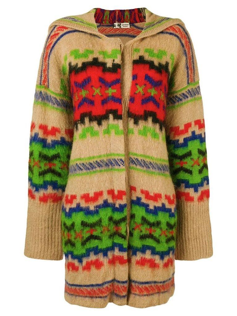 Kansai Yamamoto Vintage ethnic pattern hooded cardigan - Neutrals