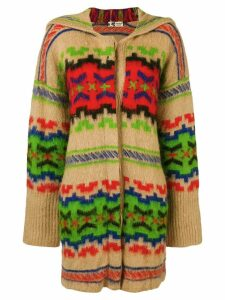 Kansai Yamamoto Pre-Owned ethnic pattern hooded cardigan - Neutrals