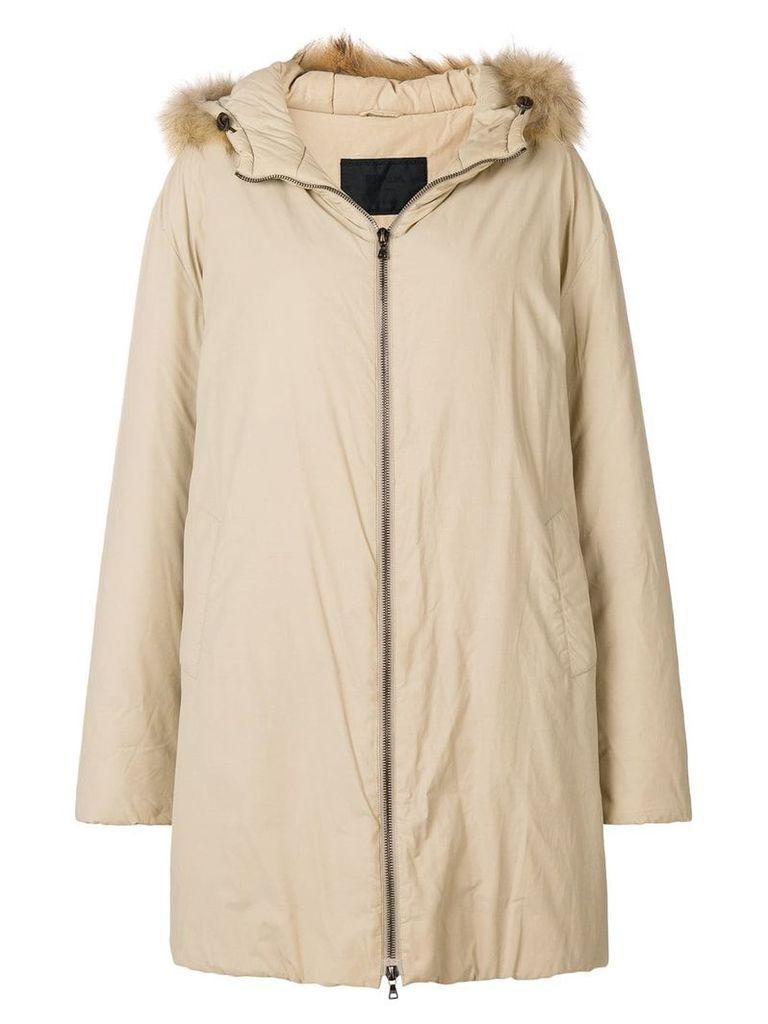Prada Pre-Owned 1990'S hooded down coat - Neutrals