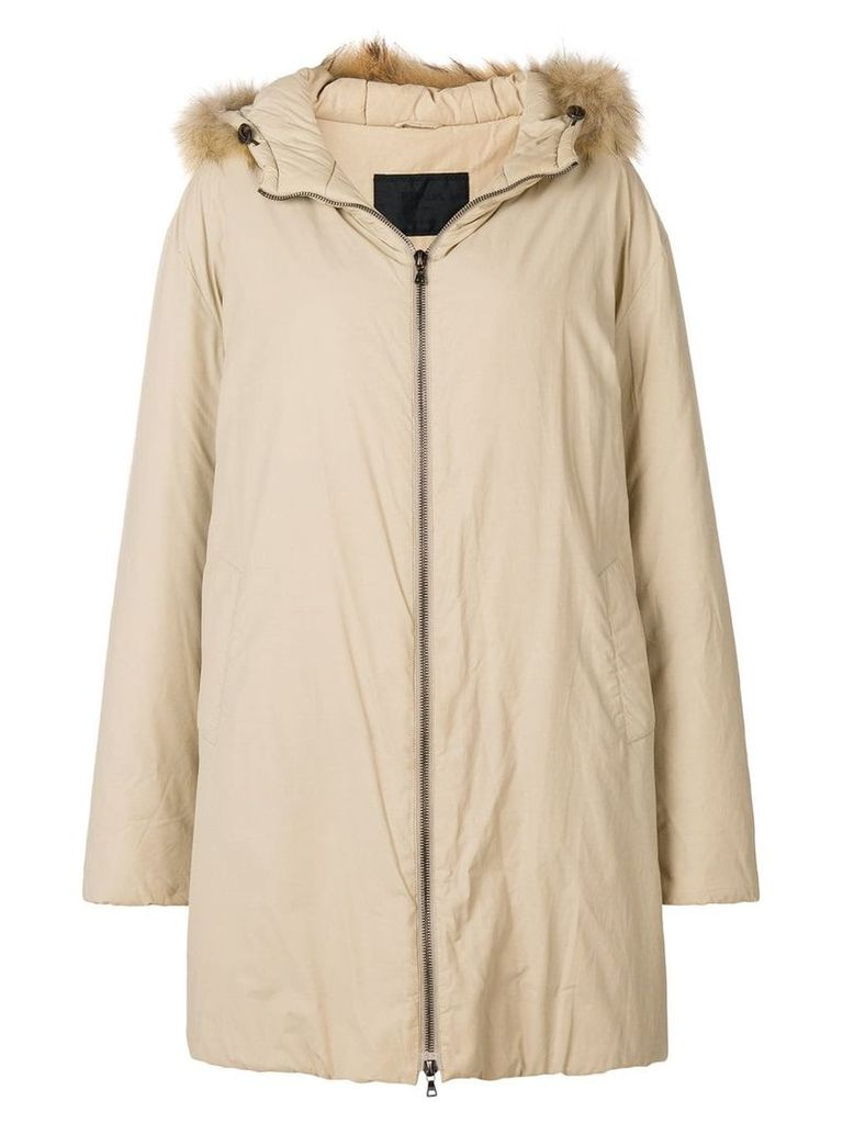Prada Vintage 1990'S hooded down coat - Neutrals