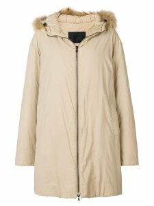 Prada Pre-Owned 1990'S hooded down coat - Neutrals