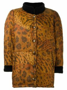 Yves Saint Laurent Pre-Owned animal print padded coat - Brown