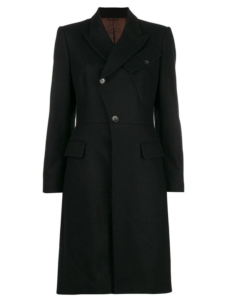 Jean Paul Gaultier Pre-Owned diagonal buttoned midi coat - Black