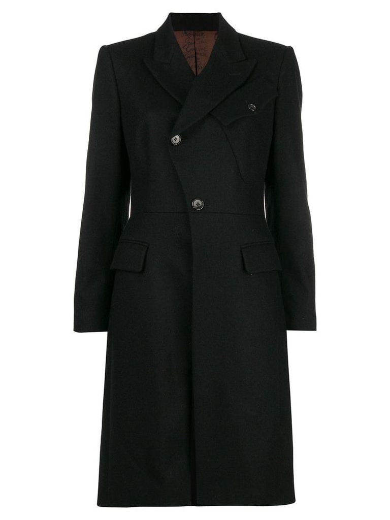 Jean Paul Gaultier Vintage diagonal buttoned midi coat - Black
