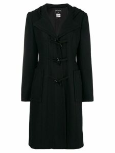 Chanel Pre-Owned hooded toggle fastening coat - Black