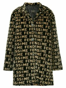 Fendi Pre-Owned Fendi Pre-Owned logos long sleeve coat - Black