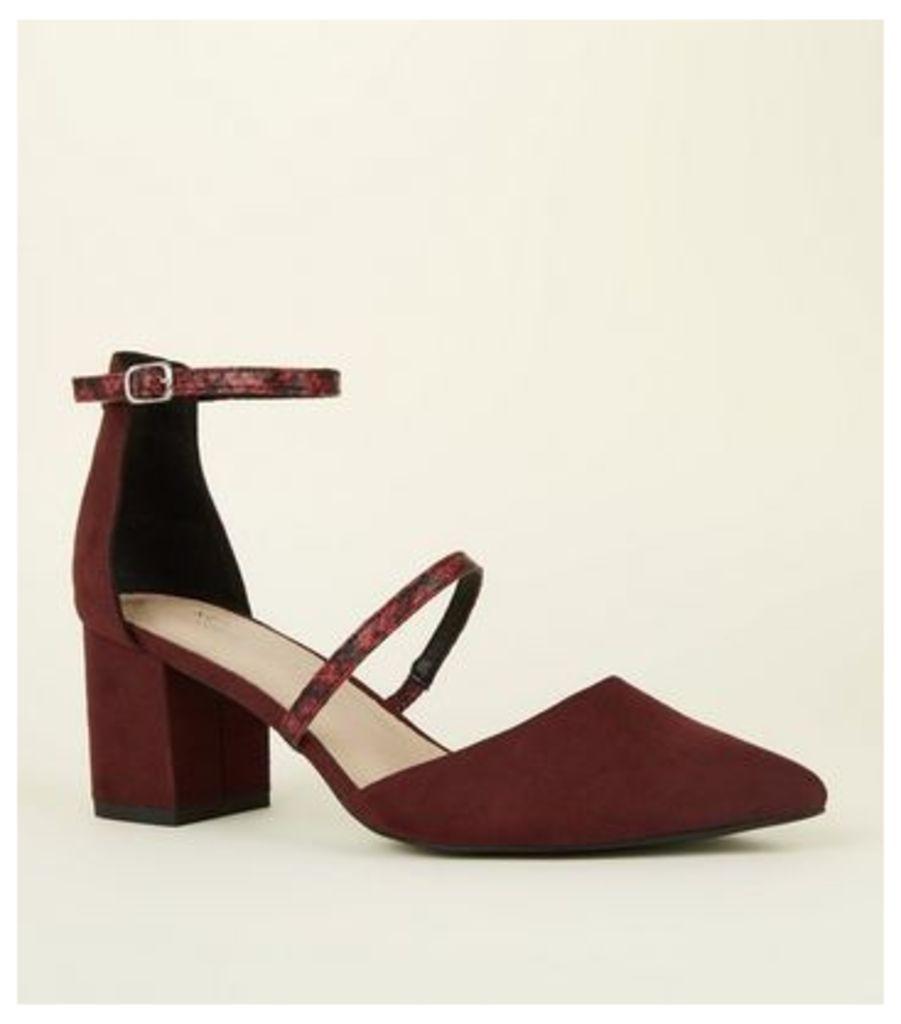 Burgundy Comfort Flex Two Strap Mid Block Heels New Look