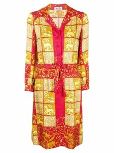 Hermès Pre-Owned baroque printed shirt dress - Red