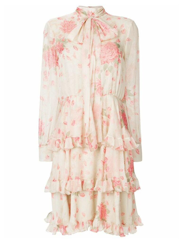 Valentino rose-print tiered dress - Neutrals