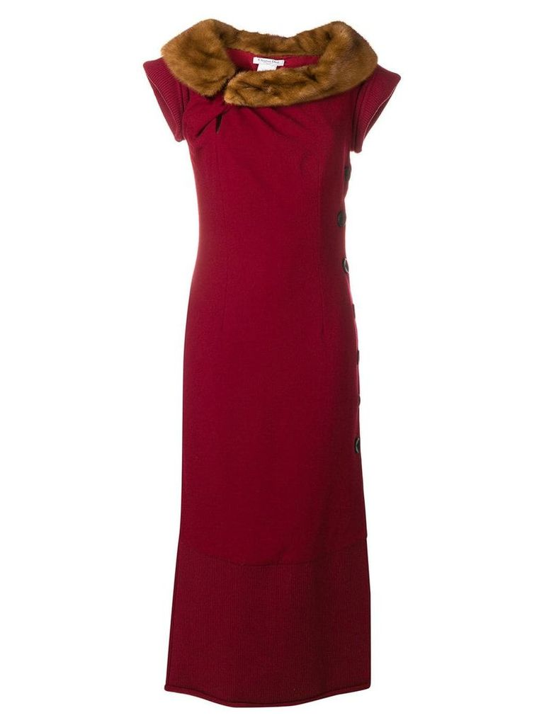 Christian Dior Vintage fur collar long dress - Red