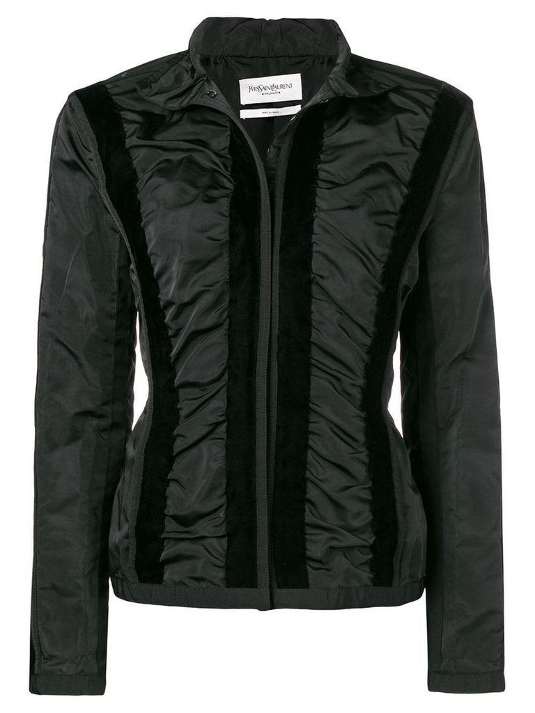 Yves Saint Laurent Vintage velvety appliqués fitted jacket - Black