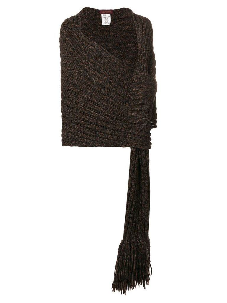 Romeo Gigli Vintage 1990's ribbed wrapped shawl - Brown
