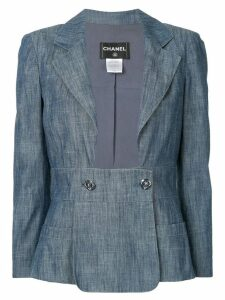 Chanel Pre-Owned open front denim blazer - Blue