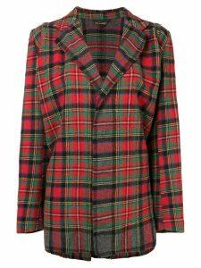 Comme Des Garçons Pre-Owned tartan check loose jacket - Red