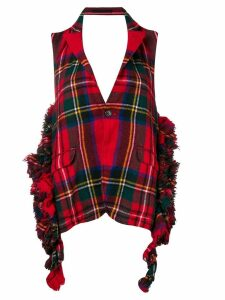 Comme Des Garçons Pre-Owned tartan frayed backless waistcoat - Red