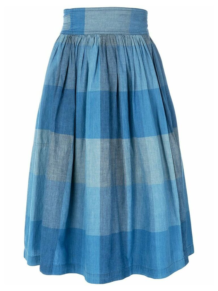 Issey Miyake Vintage check wrap skirt - Blue