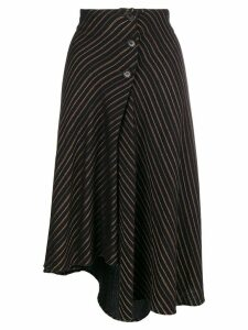 Romeo Gigli Pre-Owned 1990's striped asymmetric skirt - Black