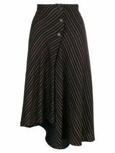 Romeo Gigli Pre-Owned 1990's striped asymmetric skirt - Black