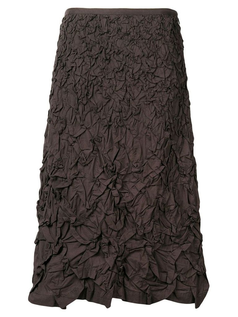 Issey Miyake Vintage 1990's textured A-line skirt - Brown